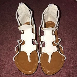 White Zip Up Sandals